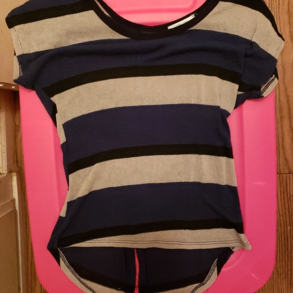 Poetry Tops - Tan/black/blue stripe tee, size small